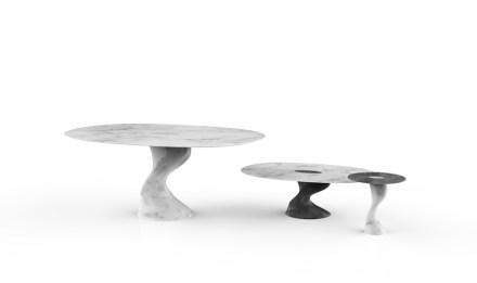 ELIC TABLE by: Setsu & Shinobu Ito, Company: GDA Marmi & Graniti, Materials: Marmo Bianco Madielle, Marmo Bardiglio Madielle.
