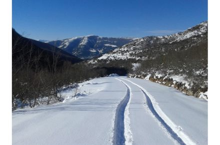 Snow in the mountains in Northern Greece.
