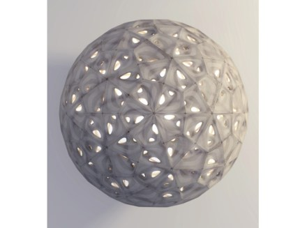 On first glance it seems to represent a lamp whose surface is comprised of stone squares. But the prototype is, in fact, a working model of a vault.