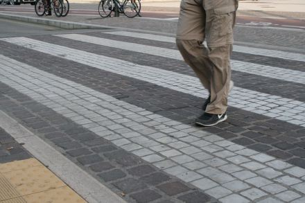 Verona's public area has a pedestrian crossing in black and white marble.