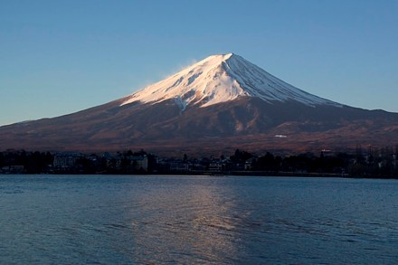 "Japan lying at the rim of the ""Pacific Ring of Fire"" has many volcanoes among them the Fuji, here at sunrise. Source: Wikimedia Commons"