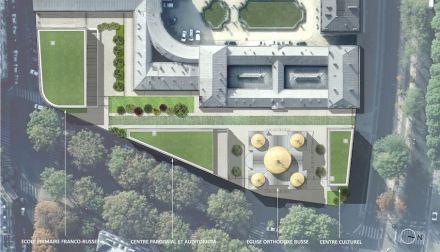Das Ensemble des Centre Spirituel et Culturel Orthodoxe Russe. Oben der Palais de l'Alma, in dem unter anderem Büros des französischen Staatspräsidenten untergebracht sind.
