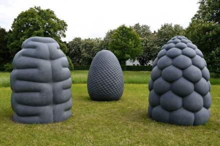 "Peter Randall-Page: ""Fructus"", ""Corpus"" & ""Phyllotaxus"" in Klikenny Blue Limestone. Photo: Balise Mann /Wikimedia Commons"