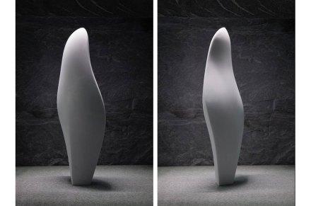 "Cynthia Sah: ""Stele I-Tablet of History"", Chinese white marble, 28 x 15 x 72  cm, 2017. Photo: S. Baroni"