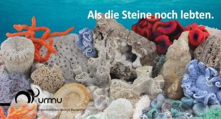 """Plakat zur Ausstellung """"Als die Steine noch lebten. 150 Millionen Jahre Albgeschichte""""."""