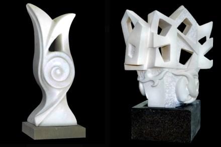 "Left: ""Lale"" (Tulip), 45x20x20 cm, Afyon Marble and Edirne Green Stone. Right: ""Rumi III"", 65x40x40 cm, Antalya Lymra Stone and Kayseri Stone."", 65x40x40 cm, Antalya Lymra Stone und Kayseri Stone."