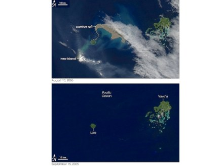 """On August 10, 2006, Nasa's """"Aqua"""" satellite captured the aftermath of a volcano eruption at the Tonga Islands in the South Pacific: above is a giant pumice raft, at the left a new island emerging out of the water partially hidden by its own plume. For comparison, the bottom image shows the same area on September 15, 2005. Photo: Nasa / Wikimedia Commons"""