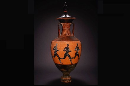 Runners on a trophy amphora. Trophy amphora in black-figure pottery. 333-332 BC. Made in Athens. Found in Benghazi, Cyrenaica, Libya. © The Trustees of the British Museum