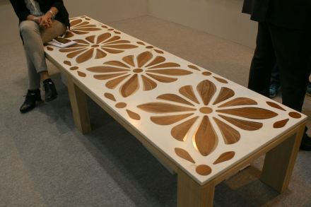 "<a href=""http://www.baccimarmi.it/""target=""_blank"">Bacci Marmi</a>: Inlay with wood and metal in white marble."