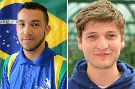 Links: Pablo Paulo, Brasilien, Goldmedaille bei den Steinmetzen; rechts: Archie Stoke-Faiers, UK, Silbermedaille bei den Steinmetzen.
