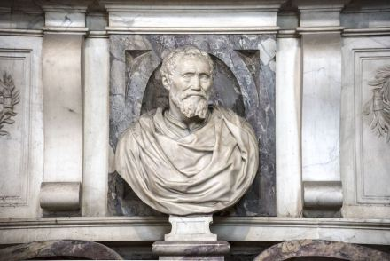 Bust of Michelangelo, detail of the tomb.