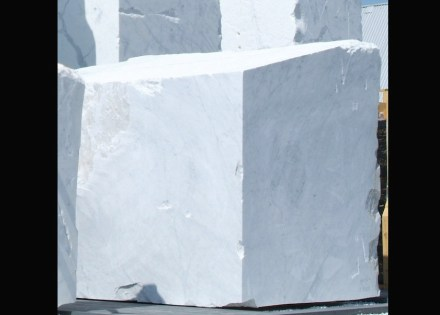 White marble, here a raw block, is the material of many of Rodin's sculptures.