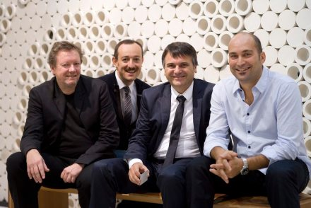 Damiano Steccanella (3rd from left) at Marmomacc 2011 together with Kjetil Thorsen (far left) from Snøhetta architects who had designed Pibamarmi's booth for Marmomacc Meets Design. Photo: Veronafiere