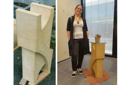 """Wettbewerb """"Die Gute Form""""; Vanessa Maurer, Steinmetzin: Tischfuß. Ausbildung bei Stephan Peters, Düsseldorf."""