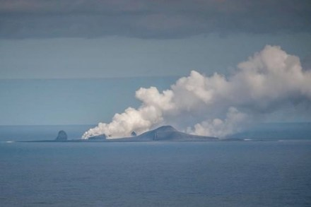 A steam plume rises from Bogoslof volcano as hot lava heats the seawater during an eruption in August 2017. Only small parts of the volcano are visible as island on the ocean surface. Photo: Dave Withrow (NOAA/Fisheries)