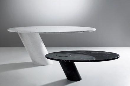 """Tisch """"Eccentrico"""" von Angelo Mangiarotti (1971) für Agape. Rendering: Marmomac"""
