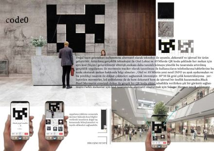 "Students, Category decorative products, Honorable Mention: Emine Yildirim (Erciyes University): ""Code0"". Information accessible through the QR-Code."