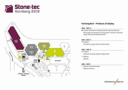 Der Hallenplan der Stone+tec 2018.