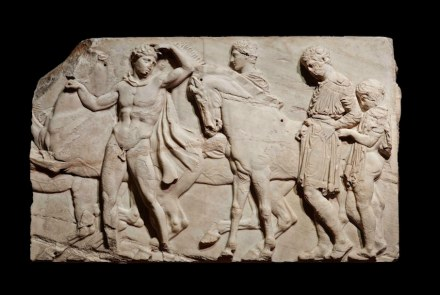 Unmounted youths preparing for the cavalcade, block from the north frieze of the Parthenon, about 438–432 BC, Marble, © The Trustees of the British Museum