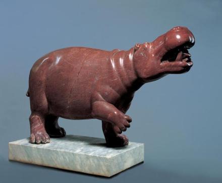 Hippopotamus, 2nd century, Roman, Rosso antico, Object: H: 77 x W: 120 x D: 38 cm (30 5/16 x 47 1/4 x 14 15/16 in.) Ny Carlsberg Glyptotek, Copenhagen. Photo: Ole Haupt