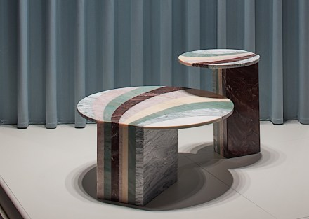 "Budri, Patricia Urquiola: sidetables ""Marea"" from ""Agua"" collection."