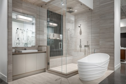 CID-Awards: Design Category, Commercial Stone. Project: Kitchen and Bath Design Showroom. Designer: Empire Kitchen & Bath. Location: Calgary, Alberta, Canada.