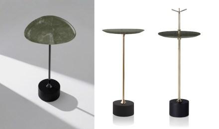 "Side tables ""Cigg"" and Jardim"". Design: Jader Almeida; company: Brasigran; granite Green Bamboo."