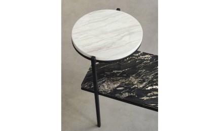 "Side tables ""Petra"". Design: Fernando Jaeger; company: Guidoni; granites Black Fusion and Black Taurus and quartzite Mykonos."