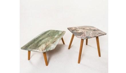 "Tables ""Vinco"". Design: Ricardo Freisleben; company: Marbrasa; quartzites Wild Forest and Gaya."