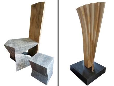Links: Maximilian Steininger, Sitzmöbel, 50 cm x 65 cm x 45 cm, Sellenberger Muschelkalk. Rechts: Hartmut Weinmann, Entfaltung, 65 cm x 40 cm x 180 cm, Hohenzollernpark Sandstein.