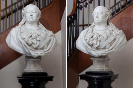 Marble bust of Queen Victoria by Sir Albert Gilbert.