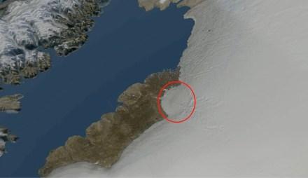Rendering der nordwestlichen Eiskante Grönlands mit dem Krater. Quelle: Natural History Museum of Denmark