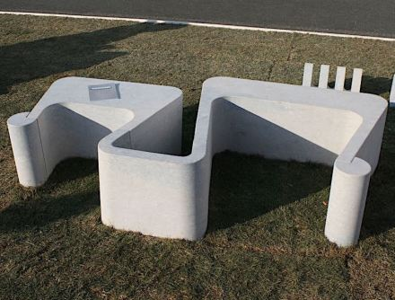 ZIG: A modular seating system designed to minimize material waste. In order to optimize the material, four cuts will be made to obtain two seats and an element of conjunction in order of size, making the largest seat depend on the smaller one and vice versa. The cut at 5.7° is coincident and makes it easy to get up from the seat thanks to its concavity. The connection of these shapes allows infinite combinations to be created such as island compositions, with open or closed angles, wall or inline structures suitable for use in any context. The rack and the closings of the seat are made from scrap.