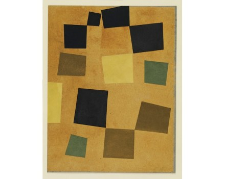 """Untitled (Squares Arranged according to the Laws of Chance)"", 1917. Cut-and-pasted colored paper on colored paper. 13 1/8 x 10 1/4 in. (33.4 x 26 cm). The Museum of Modern Art, New York Gift of Philip Johnson. © 2018 Artists Rights Society (ARS), New York/VG Bild-Kunst, Bonn. Digital image ©The Museum of Modern Art / Licensed by SCALA / Art Resource, NY"