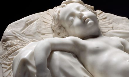 """Sleeping Christ Child"", c. 1675. Filippo Parodi (1630–1702). Marble. 63 x 102 x 42 cm. Source: The Cleveland Museum of Art, Bequest of Leonard C. Hanna Jr."