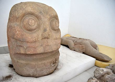 Sculpture depicting Xipe-Totec's skinned head.