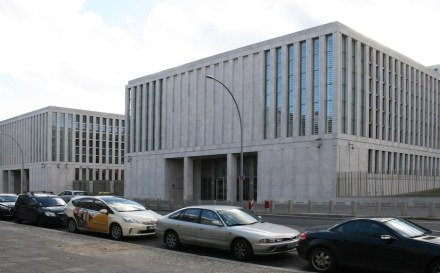 Entrance building to BND headquarters in Berlin.