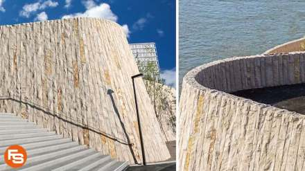 The new stone promenade on the banks of Basel's Rhein river.