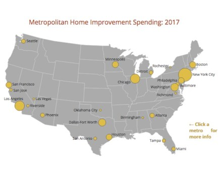 Metropolitan Home Improvement Spending in 2017. Shreenshot of the JCHS-Webpage.