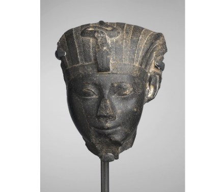 "Hatshepsut, ca. 1478-1458 B.C.E. Granite, 10 1/2 × 8 1/2 × 4 3/4 in., 16.5 lb. (26.7 × 21.6 × 12.1 cm, 7.48kg). Source: <a href=""https://www.brooklynmuseum.org/""target=""_blank"">Brooklyn Museum</a>."