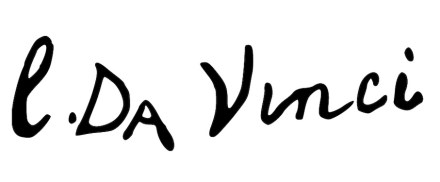 """Leonardo's signature under a painting. Source: <a href=""""https://commons.wikimedia.org/""""target=""""_blank"""">Wikimedia Commons</a>"""