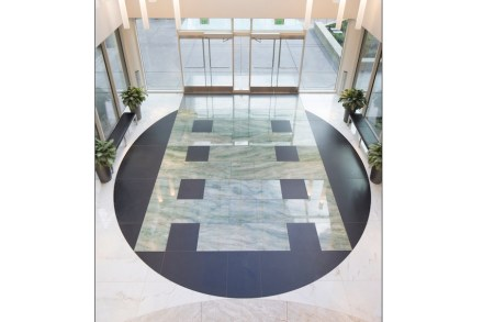 CID-Awards: Commercial Stone Installation. Project: Concord Plaza. Installer: Pennacchio Tile, Inc. Location: Concord, CA.