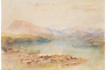 Joseph Mallord William Turner, The Rigi, Lake Lucerne, Sunset, um 1842, Aquarell und Gouache auf Papier, 24.7 x 36.2 cm, Lowell Libson & Jonny Yarker Ltd.