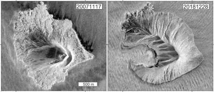 Radar images of the German TerraSAR-X satellite show the shape of Anak Krakatau before (left) and after the collapse of the flank (right). Source: TerraSAR-X (DLR), GFZ