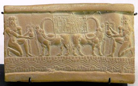"""Cylinder seal from the Akkadian Empire. Source: Mbzt 2001 / <a href=""""https://commons.wikimedia.org/""""target=""""_blank"""">Wikimedia Commons</a>"""