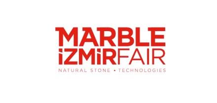 The logo of Marble Fair in Izmir.