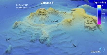 """Darstellung des Vulkans """"F"""" anhand älterer bathymetrischer Daten. Grafik: Philipp Brandl/Geomar"""