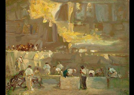"""Bei den Steinmetzen wie auch in allen anderen Berufen ändert sich manches, während anderes bleibt. Der Impressionist Robert Sterl (1867-1932) hat in seinen Gemälden zahleiche Szenen von Arbeiten im Steinbruch eingefangen. Das <a href=""""http://www.robert-sterl-haus.de/""""target=""""_blank"""">Robert-Sterl-Haus</a> im Ort Struppen unweit von Pirna zeigt seine Arbeiten. Quelle: <a href=""""https://commons.wikimedia.org/""""target=""""_blank"""">Wikimedia Commons</a>"""