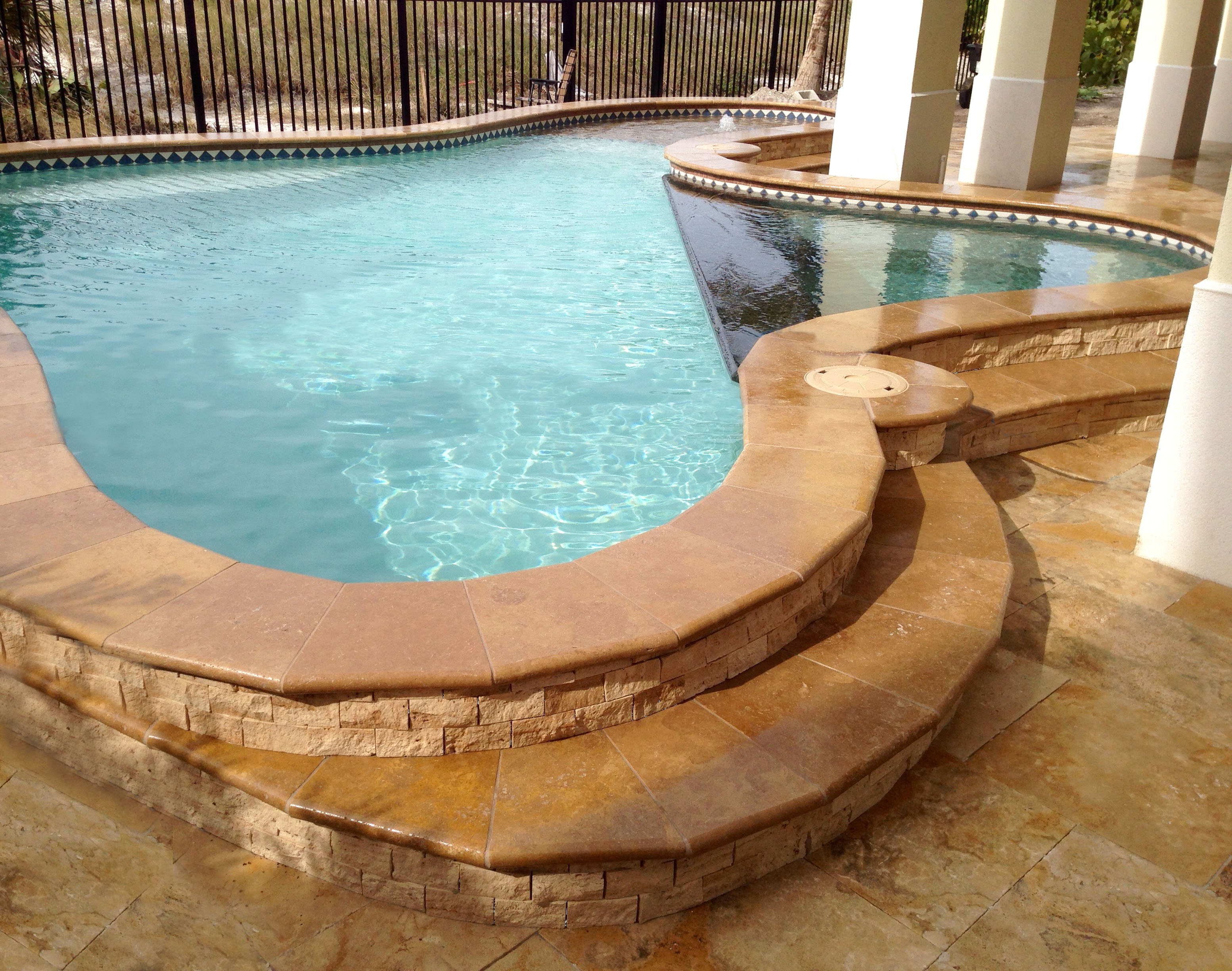 country classic pool deck travertine