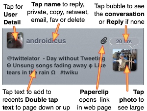 Main Controls in the Tweet view. (from the www.stone.com help pages)
